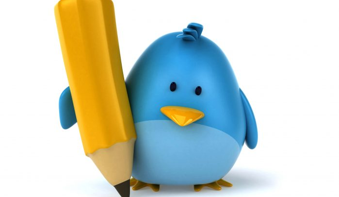3D-rendered-blue-bird-writing-with-oversized-yellow-pencil
