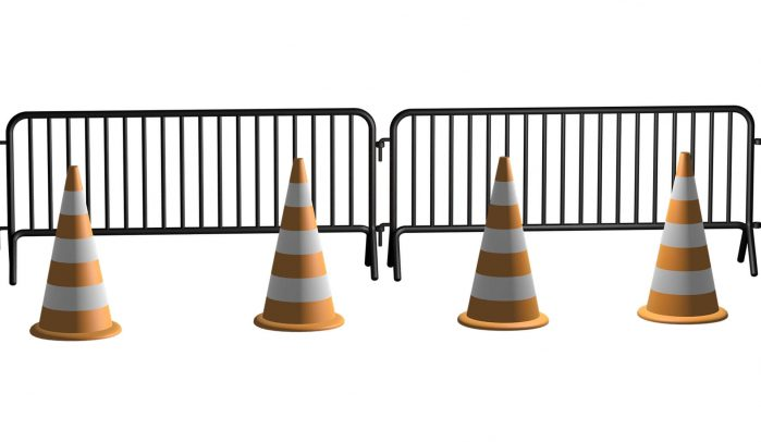 3D-rendered-metal-barrier-with-traffic-cones-in-front