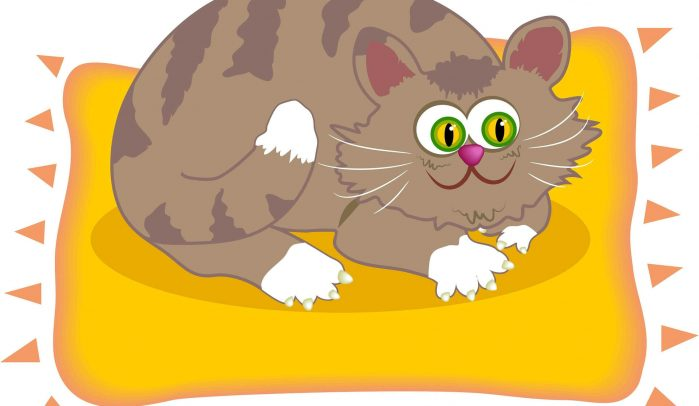 Cartoon-illustration-of-a-fat-brown-cat-on-a-yellow-mat