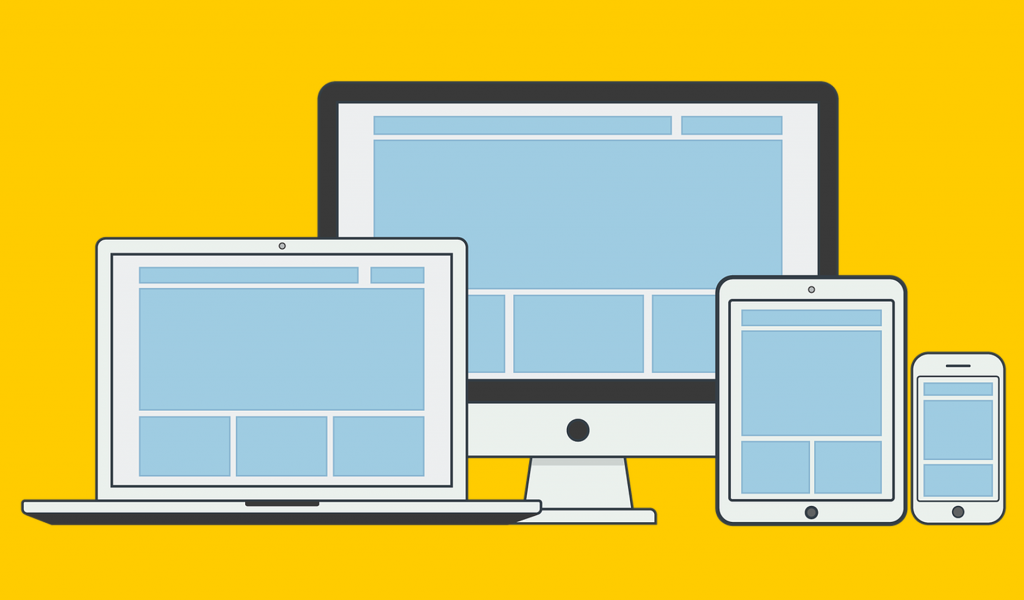 Illustration of responsive web design with a line up of a laptop, desktop, tablet and smartphone
