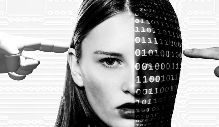 Half-woman's-face-half-binary-code-with-robot-and-human-hands-pointing