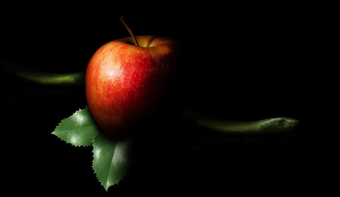 Red-apple-on-black-background